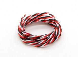 Trenzado 22 AWG Servo cable rojo / Negro / Blanco (2mtr)