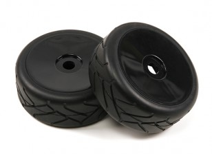 1/8 escala negra Ruedas Dish Pro con Semi neumáticos Slick Style (2pc)