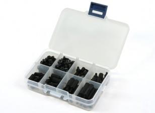 Kit M3 espaciador de nylon Tornillo Tuerca Surtido w / caja (Negro) (180pcs)