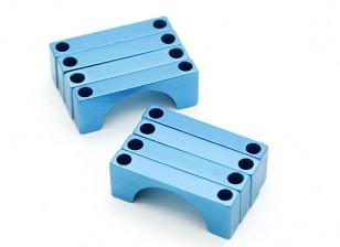 Azul anodizado CNC semicírculo aleación de tubo de sujeción (incl.screws) 16mm