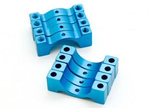 Azul anodizado CNC semicírculo aleación de tubo de sujeción (incl.screws) 14mm