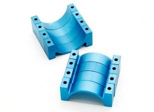 Azul anodizado CNC semicírculo aleación de tubo de sujeción (incl.screws) 30mm