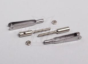 de eslabones de acero rápido horquilla w / acopladores de 2 mm de rosca (1Pair)