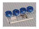 Adaptadores de ruedas de aluminio de color azul con tornillos de seguridad - 4 mm (12 mm Hex)