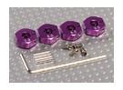 Adaptadores púrpura ruedas de aluminio con tornillos de seguridad - 5 mm (12 mm Hex)