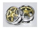 Escala 1:10 Juego de ruedas (2pcs) Oro / Chrome 5 rayos 26mm RC Car (sin desplazamiento)