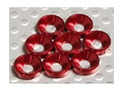 Avellanado Lavadora aluminio anodizado M3 (rojo) (8pcs)