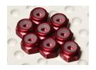 Aluminio anodizado M2 Tuercas Nylock rojos (8pcs)