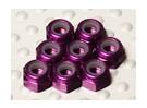 El aluminio anodizado de color púrpura M3 Tuercas Nylock (8pcs)