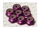 El aluminio anodizado de color púrpura M4 Tuercas Nylock (8pcs)