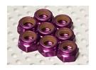 El aluminio anodizado de color púrpura tuercas M5 Nylock (8pcs)