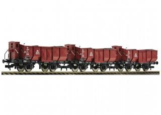 Roco/Fleischmann HO 3 Piece Gondola Wagon Set Deutsche Bundesbahn (DB)