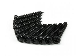 Screw Round Head Phillips M4x24mm Self Tapping Steel Black (10pcs)