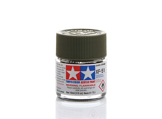 Tamiya XF-51 Flat Khaki Drab Mini Acrylic Paint (10ml)