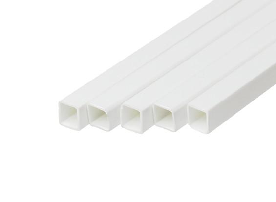 ABS Square Tube 8.0mm x 8.0mm x 500mm White (Qty 5)
