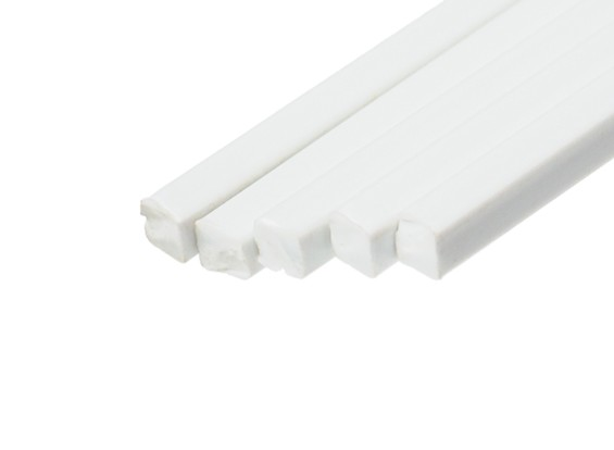 ABS Square Rod 3.0mm x 3.0mm x 500mm White (Qty 5)