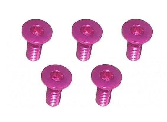 Screw Flat Head Hex M3x8mm Machine Thread 7075 Aluminum Pink (5pcs)