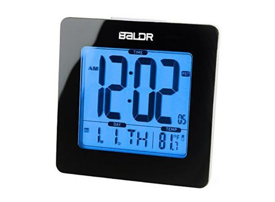 BALDR B0114ST LCD Smart Alarm Clock with WWVB Radio Snooze Temperature Back-light Display