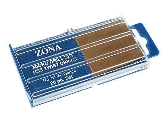 Zona 20pc ad alta velocità Twist Drill Set (# 61- # 80)