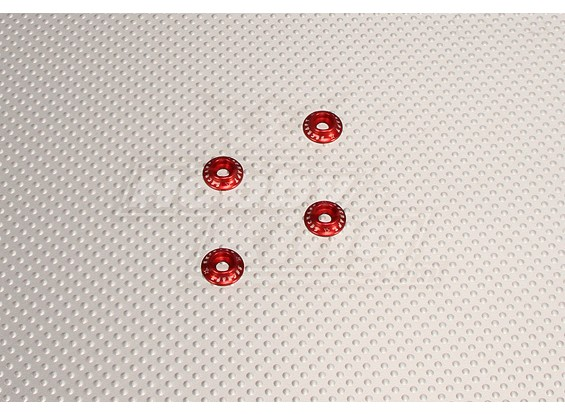 CNC flangiato Washer 4.0 (M4, # 8-32) Red