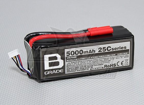 B-Grade 5000mAh 6S 25C Lipoly Batteria