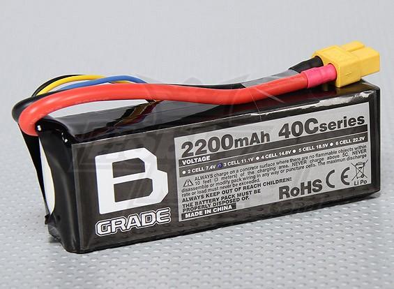 B-Grade 2200mAh 3S 40C Lipoly Batteria