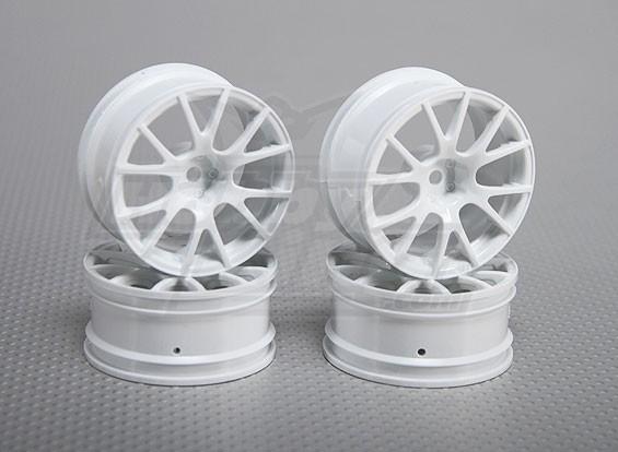 Impostare 01:10 ruota Scala (4 pezzi) Bianco 12 razze 26 millimetri RC Auto (3mm offset)