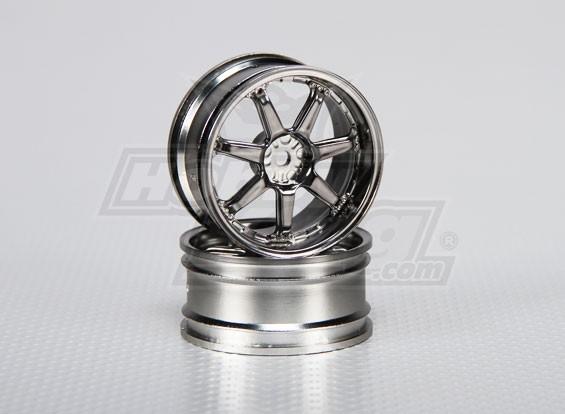 Scala 1:10 set di ruote (2 pezzi) a 7 razze RC Auto 26 millimetri (offset 3 mm)