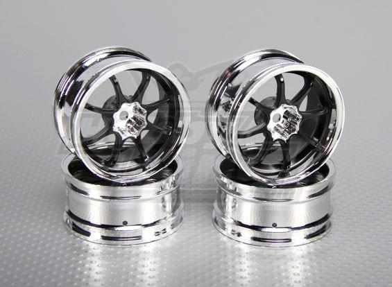Scala 1:10 Wheel Set (4pcs) Cromo / Nero 8-Spoke 26 millimetri RC Auto (6 mm offset)