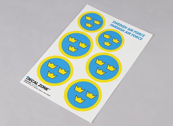 Scala nazionale Air Force Insignia Sticker Sheet - Svezia