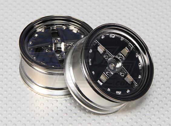 Scala 1:10 rotella Dish Set (2 pezzi) Gunmetal RC Auto 26 millimetri