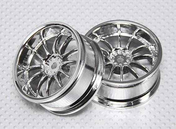 Scala 1:10 Wheel Set (2 pezzi) Chrome Split 6 razze RC Auto 26 millimetri (3 mm Offset)