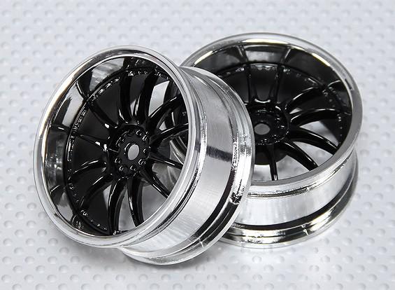 Scala 1:10 set di ruote (2 pezzi) Black / Chrome Split 6 razze RC Auto 26 millimetri (3 mm di offset)