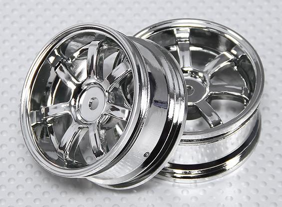 Impostare 01:10 ruota Scala (2 pezzi) Chrome 7 razze RC Auto 26 millimetri (3 mm di offset)