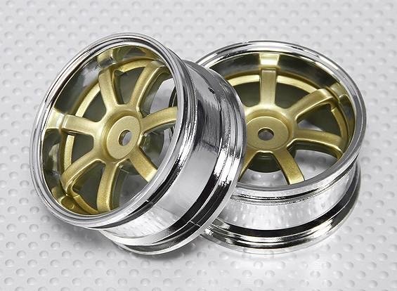 Scala 1:10 Wheel Set (2 pezzi) Cromo / Oro 7 razze 26 millimetri RC Auto (3mm Offset)