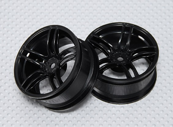 Scala 1:10 Wheel Set (2 pezzi) Nero Split 5 razze RC Auto 26 millimetri (3 mm Offset)