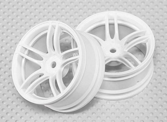Scala 1:10 Wheel Set (2 pezzi) Bianco Split 5 razze RC Auto 26 millimetri (3 mm di offset)