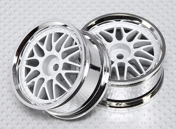 01:10 ruote Scale Set (2 pezzi) Bianco / Cromo Split 10 razze RC 26 millimetri (non compensati)