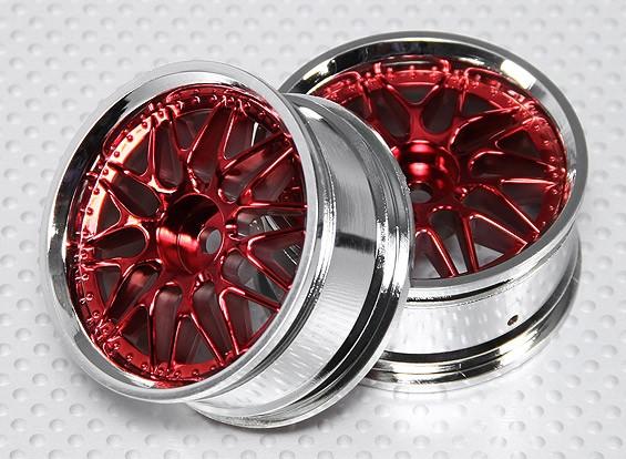 Scala 1:10 Wheel Set (2 pezzi) Red / Cromo Split 10 razze 26 millimetri RC Auto (senza offset)