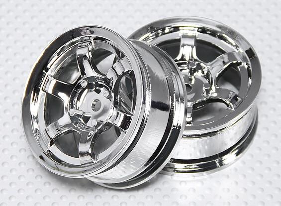 Impostare 01:10 ruota Scala (2 pezzi) Chrome 6 razze RC 26 millimetri (non compensati)