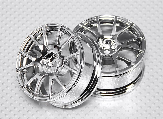 Scala 1:10 Wheel Set (2 pezzi) Chrome Split 6 razze RC Auto 26 millimetri (3 mm di offset)