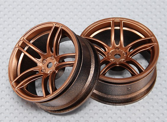 Scala 1:10 Wheel Set (2 pezzi) Bronzo Split 5 razze RC Auto 26 millimetri (3 mm di offset)