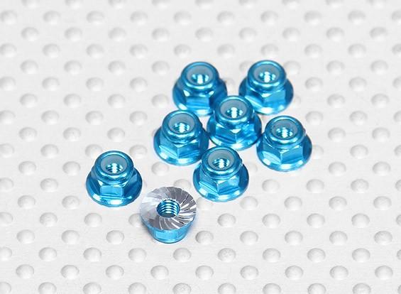 Blu Alluminio anodizzato M3 Nylock Wheel Nuts w / seghettato flangia (8pcs)