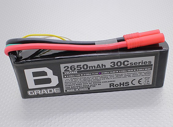 B-Grade 2650mAh 4S 30C Lipoly Batteria