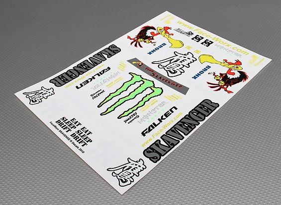 Auto Sticker Foglio Adesivo - Skavenger Condor Drift squadra 1/10 Scale (345 millimetri x 240 millimetri)