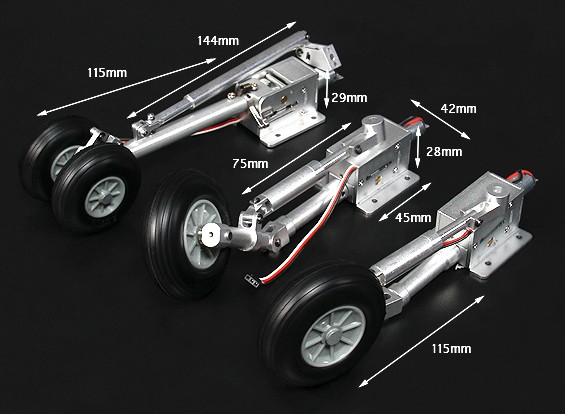 Turnigy Full Metal F-18 Style Large Scale Servoless Ritrarre con i piedini Oleo