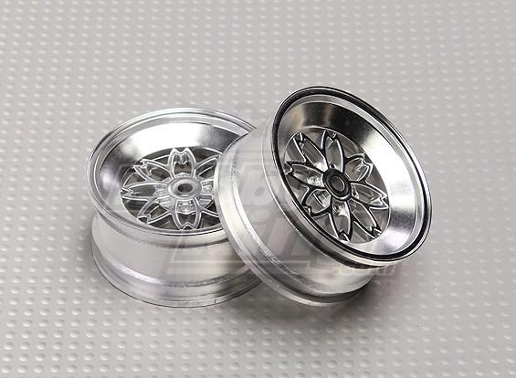 Scala 1:10 26 millimetri argento set di ruote (2 pezzi) 8-Spoke auto RC
