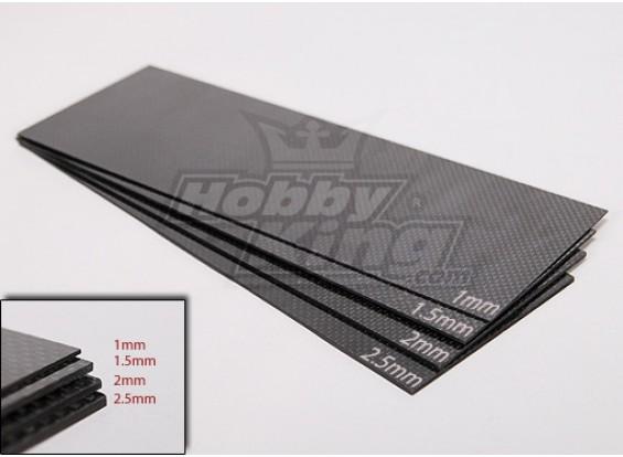 Tessuto in fibra di carbonio foglio 300x100 (1.0MM di spessore)