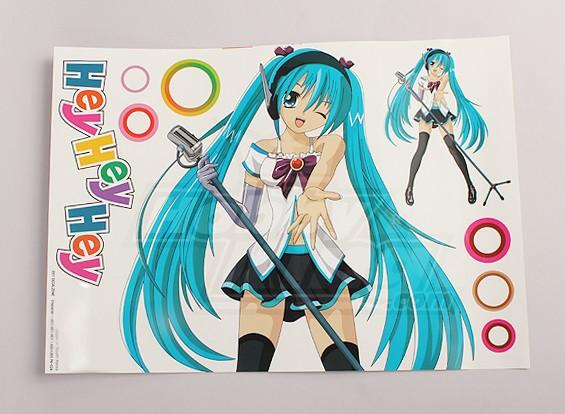 Hey, Hey, Hey Anime Character grande foglio Decal