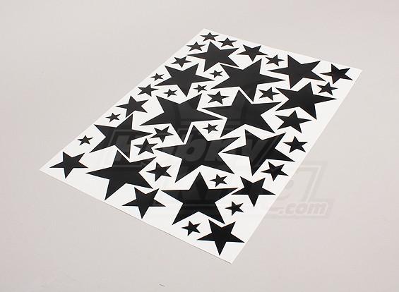 Black Star / bianco Vari foglio 425mmx300mm Misure Sticker